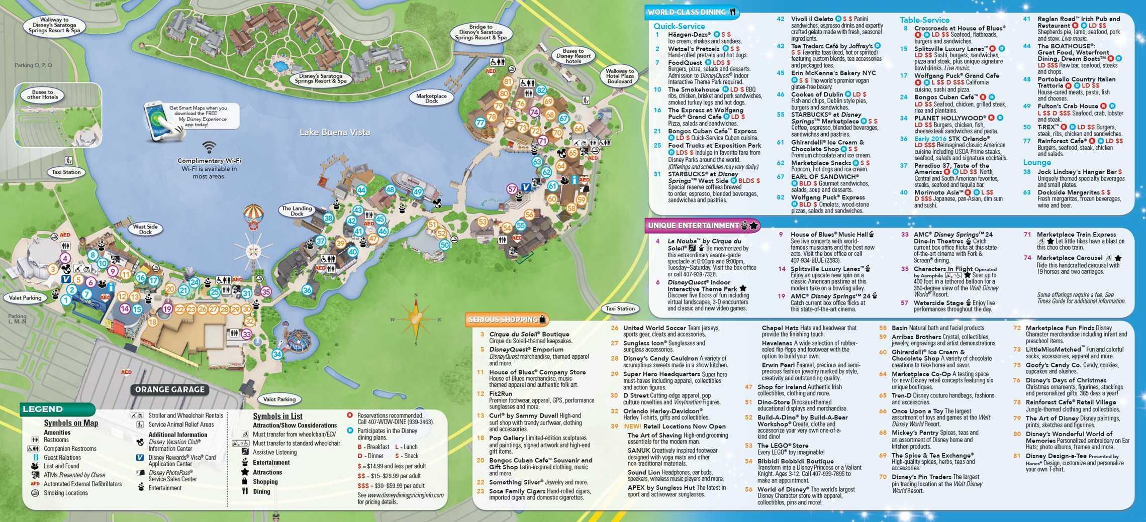 Disney Springs guide map - Back