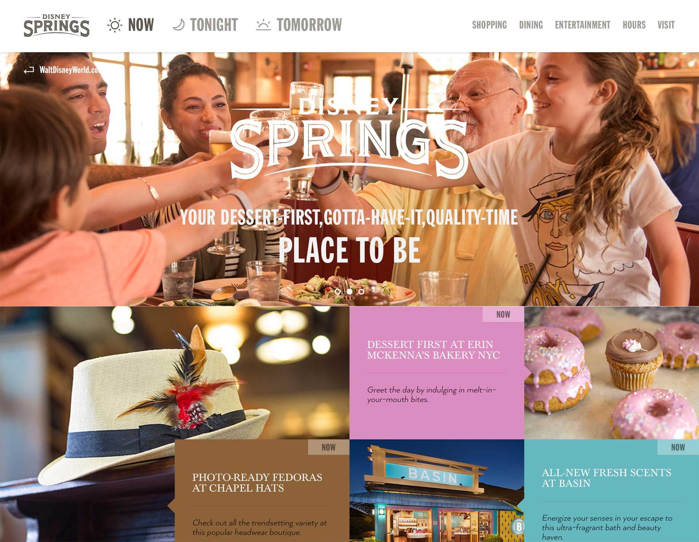 Disney Springs official website screenshot