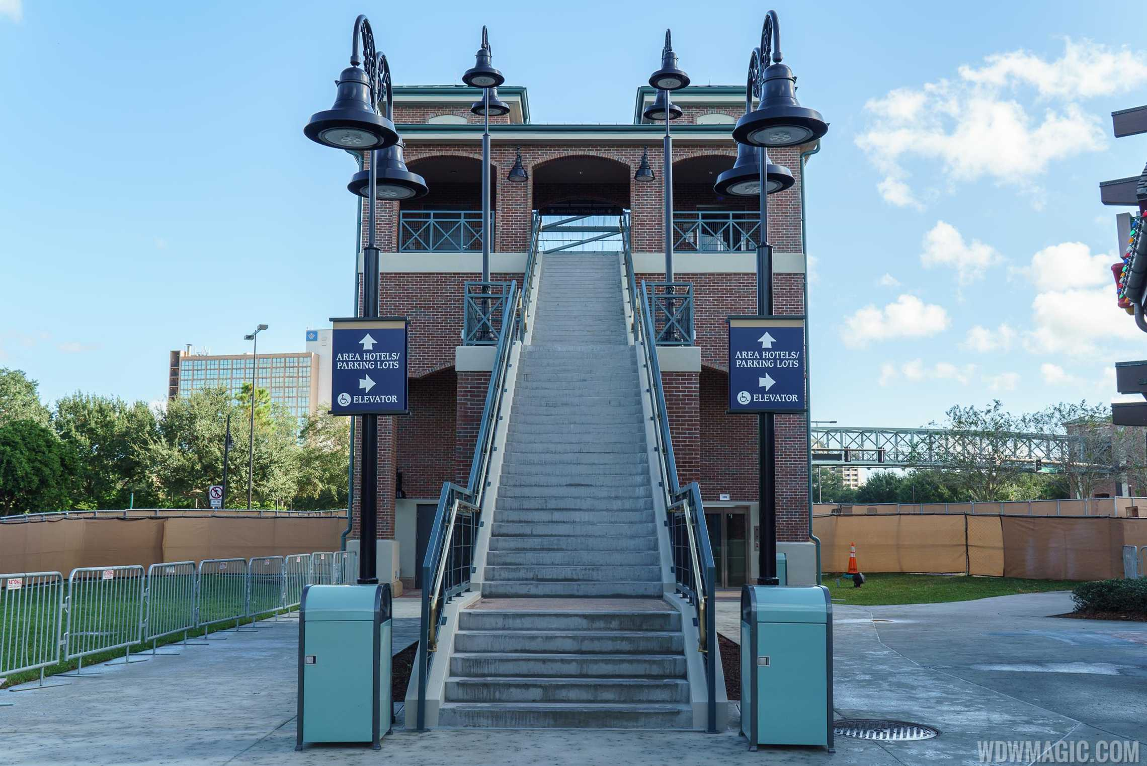 Entrance to the pedestrian bridge from Disney Springs Marketplace