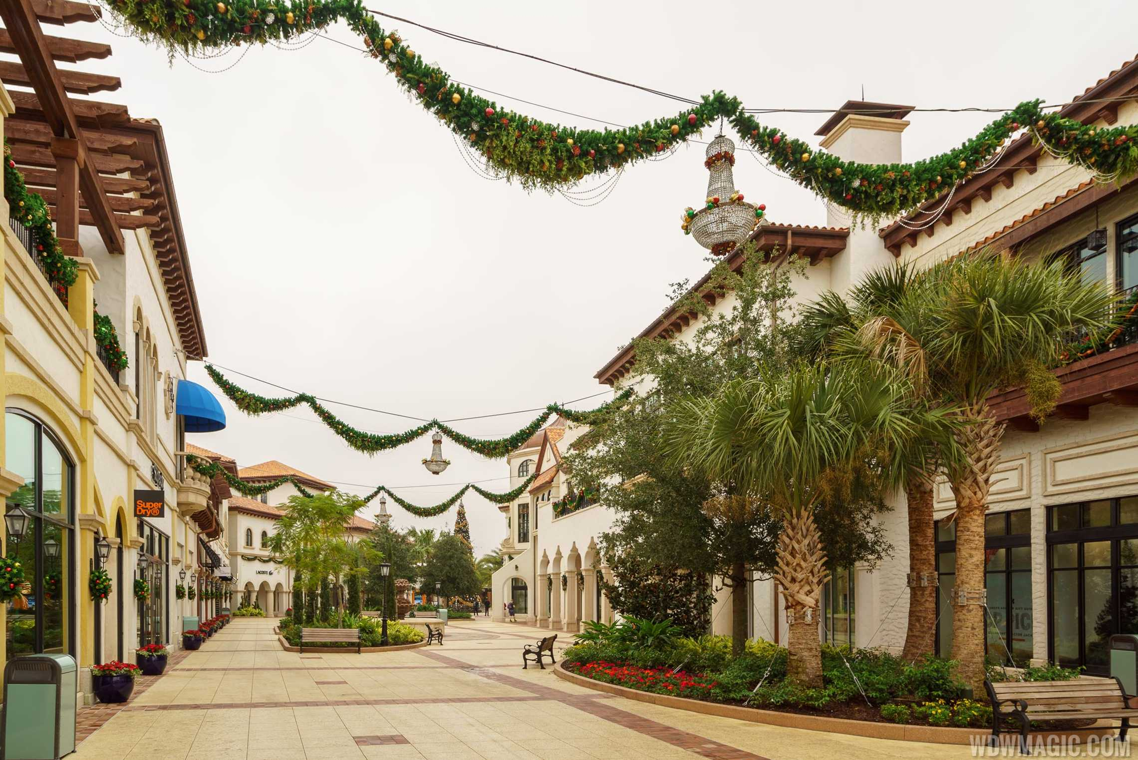 Holiday decorations in the Town Center at Disney Springs