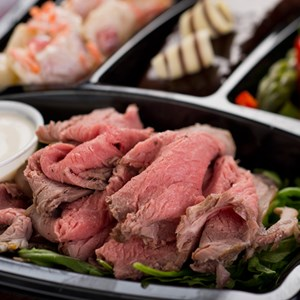 1 of 7: A Taste of Hollywood To Go – A Fantasmic Dining Experience - Cold-cut roast beef with creamy horseradish, potato salad, grilled asparagus and chocolate cake available with Fantasmic! Seats at Disney's Hollywood Studios