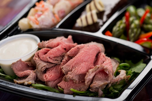A Taste of Hollywood To Go – A Fantasmic Dining Experience - Cold-cut roast beef with creamy horseradish, potato salad, grilled asparagus and chocolate cake available with Fantasmic! Seats at Disney's Hollywood Studios