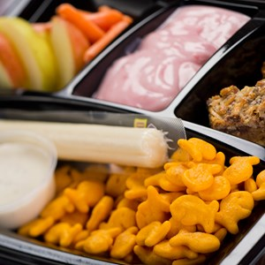 5 of 7: A Taste of Hollywood To Go – A Fantasmic Dining Experience - Strawberry yogurt, apple wedges, carrot sticks, Goldfish crackers and an organic apple cinnamon and oatmeal bar available with Fantasmic! Seats at Disney's Hollywood Studios