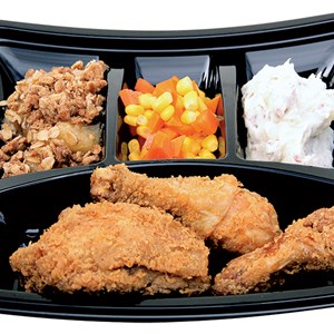 3 of 7: A Taste of Hollywood To Go – A Fantasmic Dining Experience - Hot Fried Chicken with Roasted Garlic Mashed Potatoes, Sweet Corn and Carrots and Warm Apple Crisp Available with Fantasmic! Seats at Disney's Hollywood Studios.