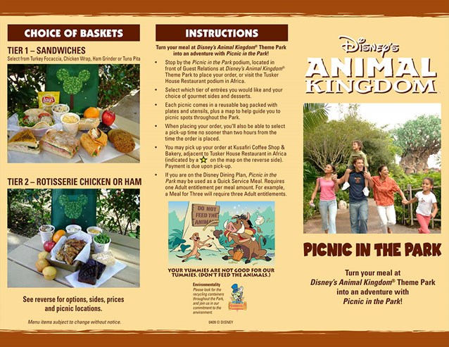 Animal Kingdom Picnic in the Park - Picnic in the Park - Front side. Copyright 2009 The Walt Disney Company.