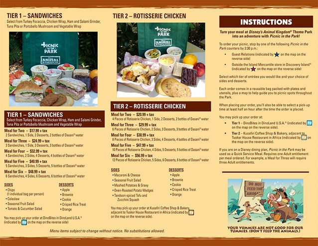 Animal Kingdom Picnic in the Park - Picnic in the Park - Back side. Copyright 2009 The Walt Disney Company.