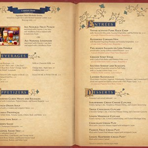 2 of 3: Be Our Guest Restaurant - Be Our Guest Restaurant dinner menu inside pages