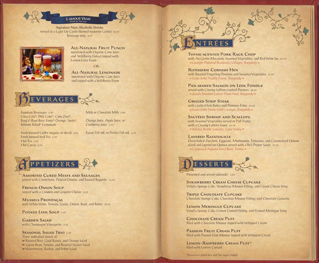 Be Our Guest Restaurant - Be Our Guest Restaurant dinner menu inside pages