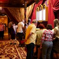 Be Our Guest Restaurant - Be Our Guest Restaurant lunch - Guests in the Parlor Room using the ordering kiosks