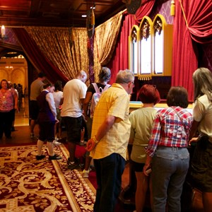 8 of 25: Be Our Guest Restaurant - Be Our Guest Restaurant lunch - Guests in the Parlor Room using the ordering kiosks