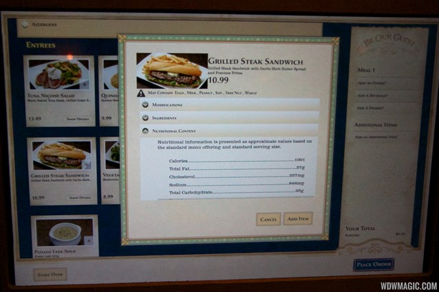 Be Our Guest Restaurant - Be Our Guest Restaurant lunch - The ordering kiosk screen with nutritional info