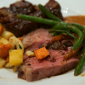 32 of 37: Boma - Flavors of Africa - Boma Dinner buffet plate - Strip loin, green beans, root vegetables and ribs