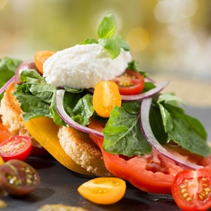 7 of 20: California Grill - New California Grill menu - Heirloom tomatoes with grilled bread, baby basil, ricotta cheese and vinaigrette flavored with roasted shishito peppers