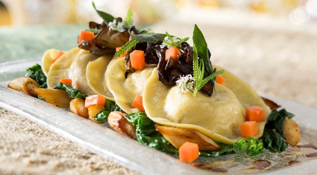 California Grill - New California Grill menu - Roasted squash ravioli with root spinach, parsnips, petite herb salad, sage brown butter and 12-year balsamic
