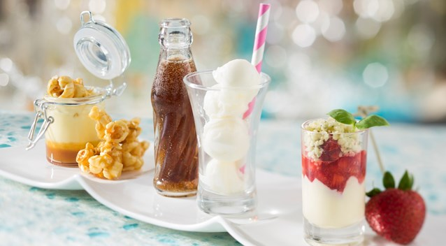 California Grill - New California Grill menu - California Grill Sundae Sampler includes a trio of nostalgic tastes: caramel corn, Coca-Cola float, and strawberry and basil
