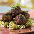 California Grill - New California Grill menu - From the California Grill wood-burning oven, Three-Meat Signature Meatballs with picholine olives, herbed orzo, chimichurri and lavender mint