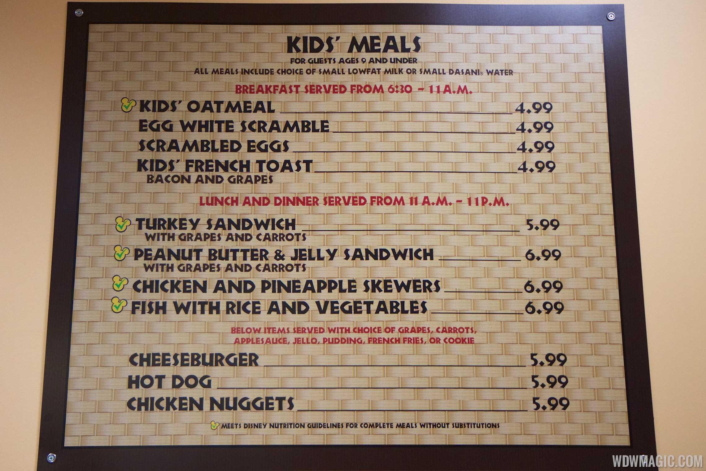 Temporary Captain Cook's - Kids menu