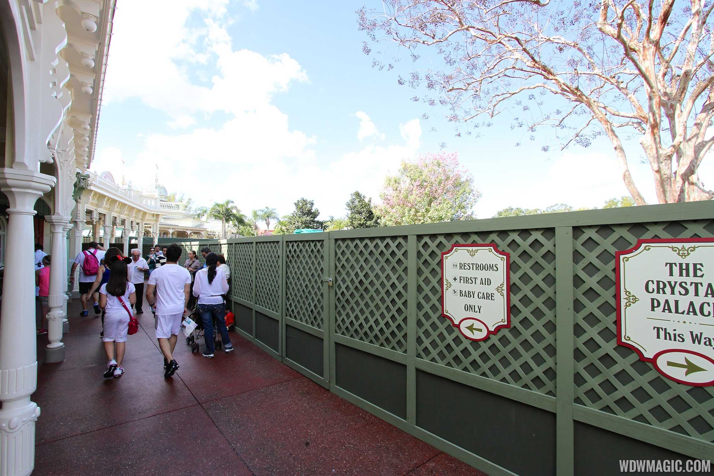 Construction walls up around Casey's Corner at the Magic Kingdom