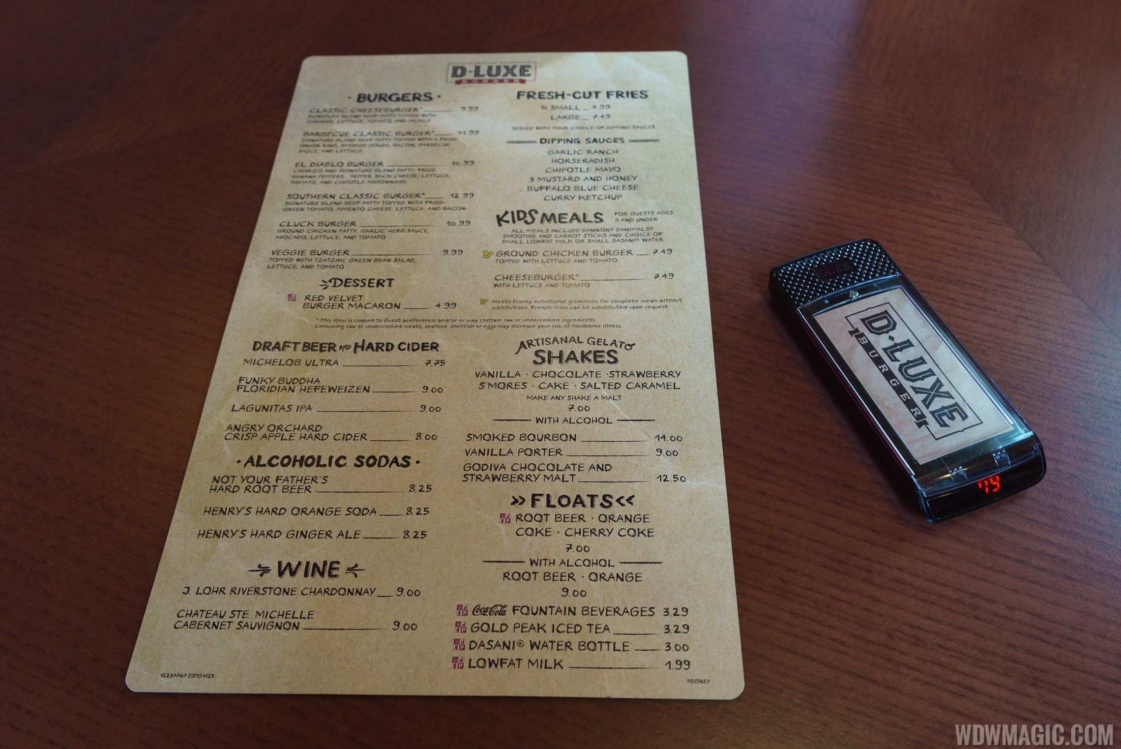 D-Luxe Burger - Menu and Pager