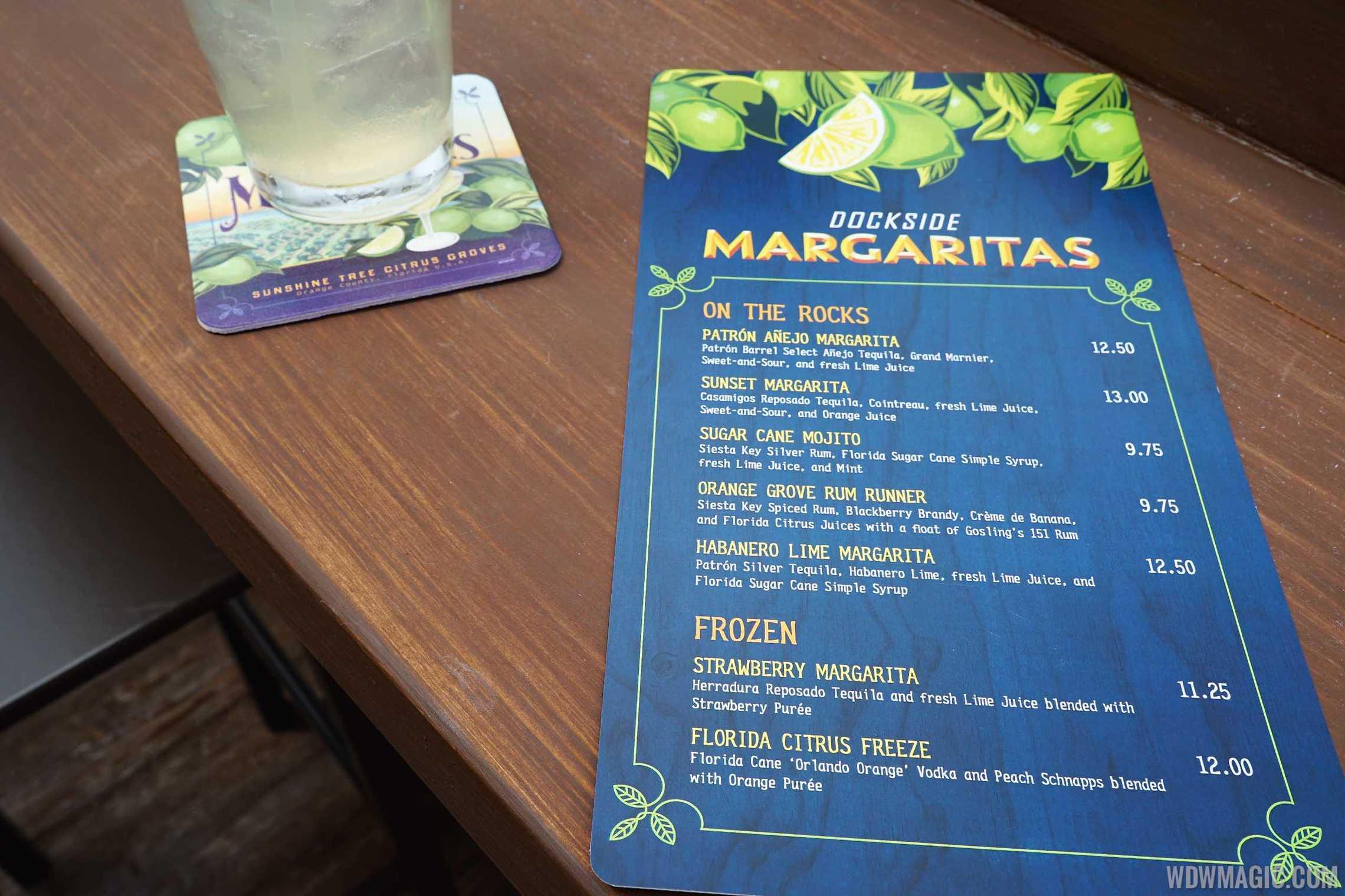 Dockside Margaritas - Menu