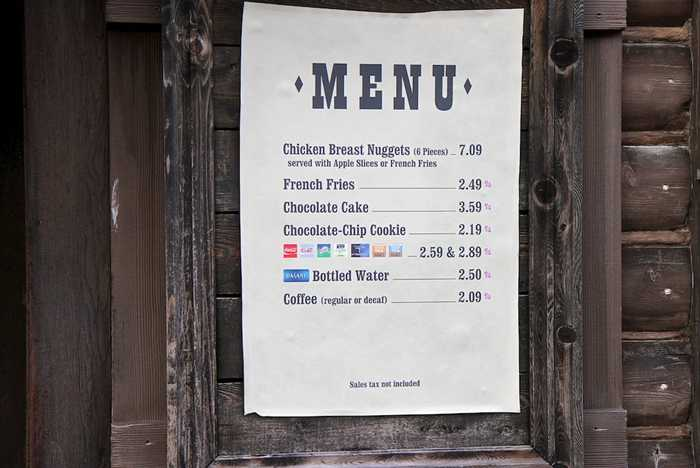 Stripped down menu
