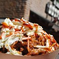 Golden Oak Outpost - Barbecue Pork Waffle Fries topped with Barbecue Pork and Coleslaw