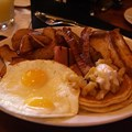 Kona Cafe - Big Kahuna - French Toast, Pancakes with Pineapple Sauce and Macadamia Nut Butter, Eggs, Home-fried Potatoes, Ham, Bacon, and Sausage