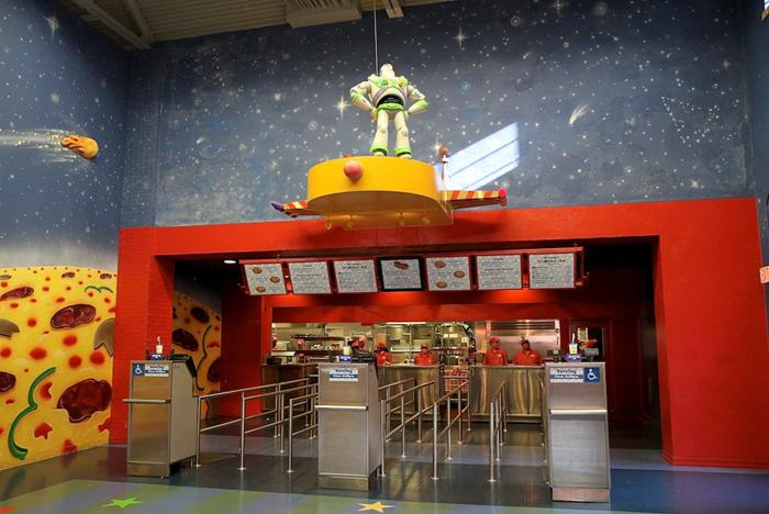 Pizza Planet dining areas and arcade