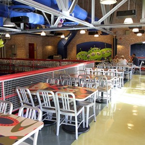 5 of 8: Pizza Planet - Pizza Planet dining areas and arcade