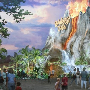 4 of 4: Rainforest Cafe - Concept art of the new look exterior