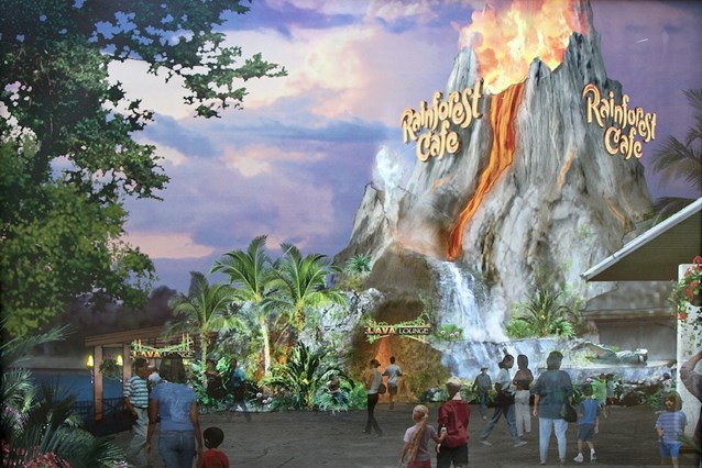 Rainforest Cafe Downtown Disney - Concept art of the new look exterior