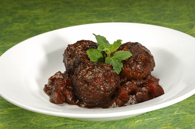 Sanaa - Lamb Kefta with Tamarind and Papaya Sauce.
