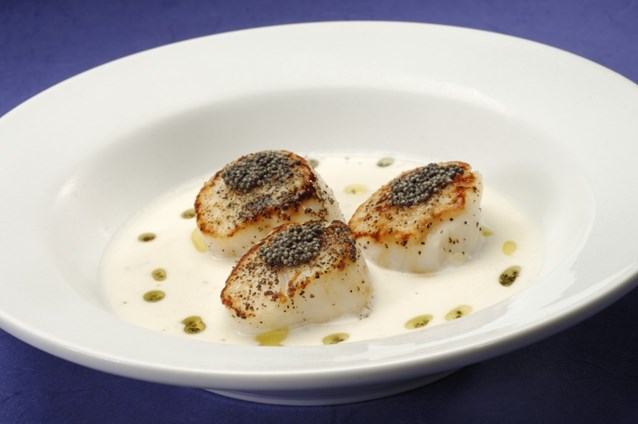 Sanaa - Mustard seed-crusted Scallops with a coconut cream suace.
