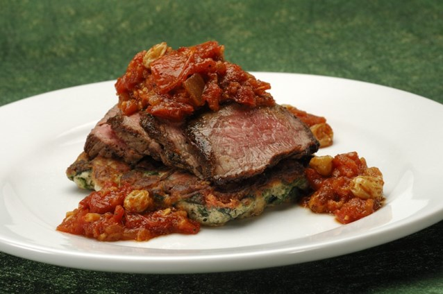 Sanaa - Grilled Flank Steak, with spinach and mushroom pancake served with oven-dried chutney.