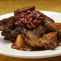 Sanaa - Spice-Crusted Cornish Game Hen with turnips and cherries.