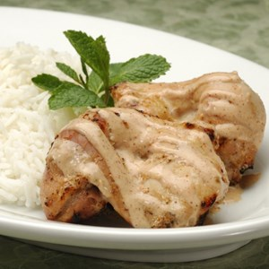 6 of 9: Sanaa - Tandoori Chicken served with basmati rice or seven-grain pilaf.