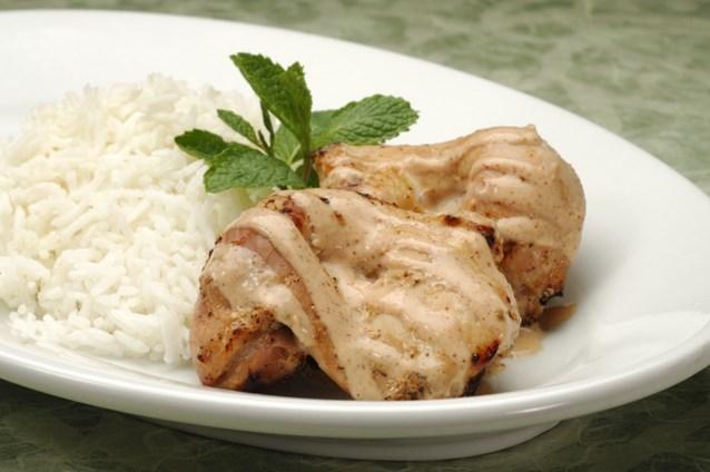 Sanaa - Tandoori Chicken served with basmati rice or seven-grain pilaf.