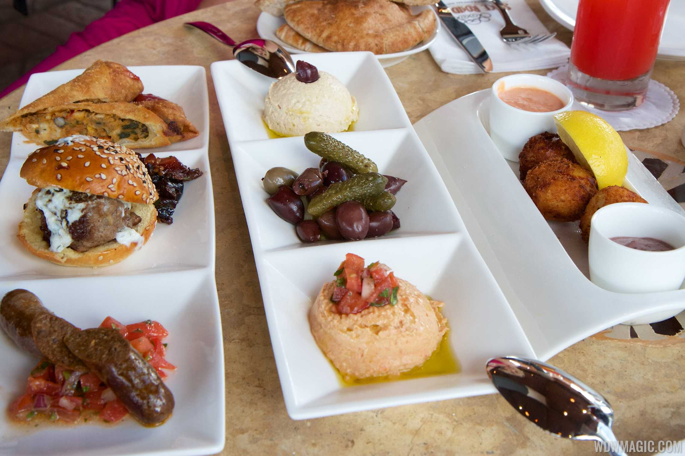 Spice Road Table - Tingis Sampler $16, Hummus and Olives $10, Salted Cod Croquettes $10