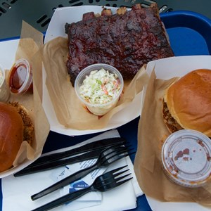 1 of 7: The Smokehouse - The Smokehouse - Pulled chicken, pulled pork and half rack of ribs