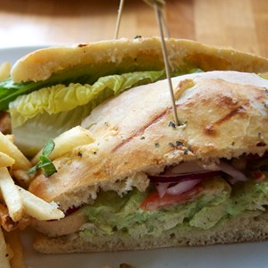 11 of 16: Wolfgang Puck Express - Marketplace - Wolfgang Puck Express Marketplace - Pesto Chicken Salad sandwich