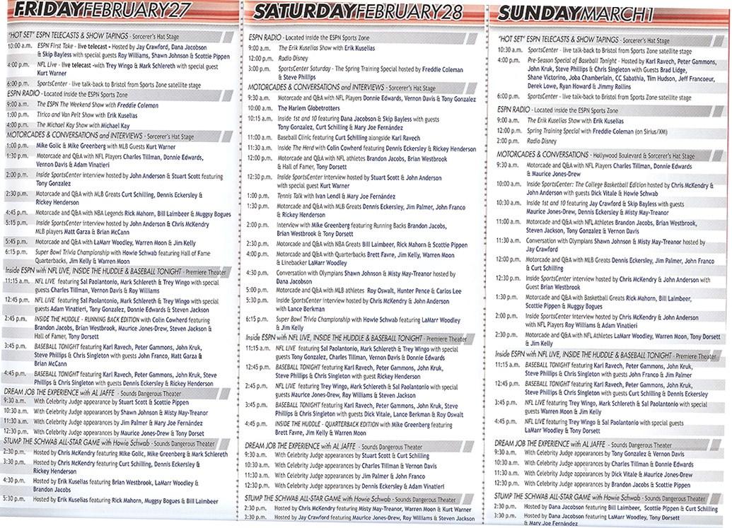2009 ESPN The Weekend schedule of events