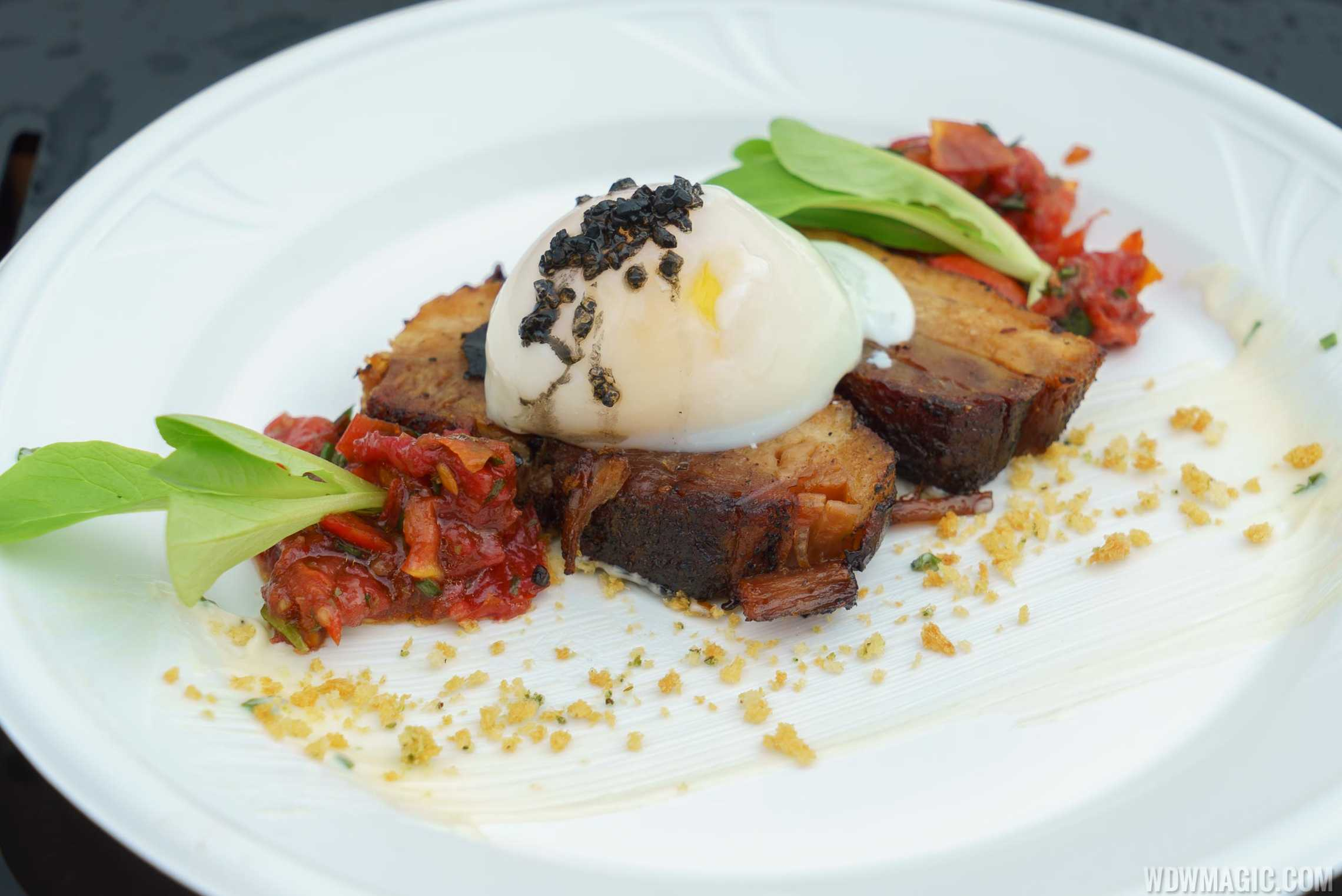 Festival of the Arts Food Studio - E = AT^2 - BLT with Crispy Pork Belly, Tomato Jam and Soft Poached Egg