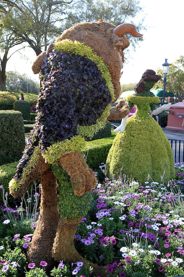 Epcot International Flower and Garden Festival - Belle and Beast topiary in France