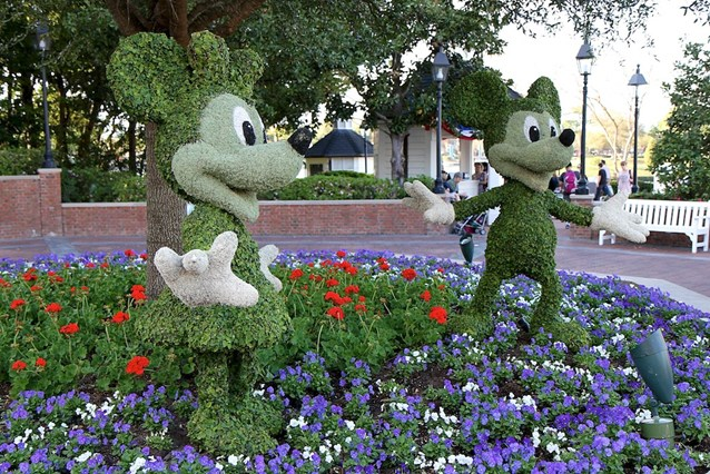 Epcot International Flower and Garden Festival - Mickey and Minnie topiary infront of the American Adventure