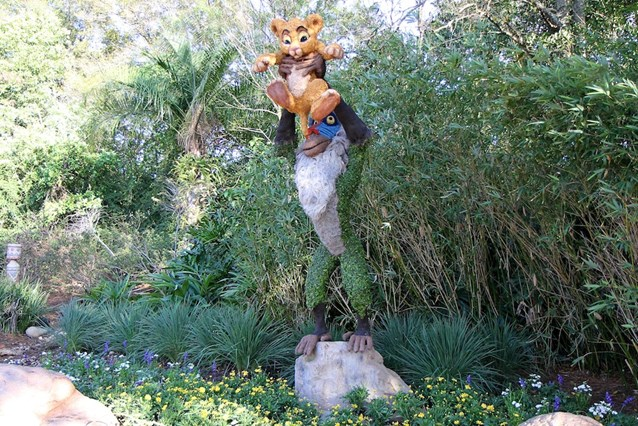 Epcot International Flower and Garden Festival - Simba and Rafiki topiary near the Outpost