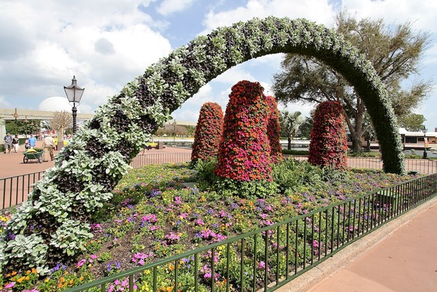 Epcot International Flower and Garden Festival - The archway at the entrance to World Showcase
