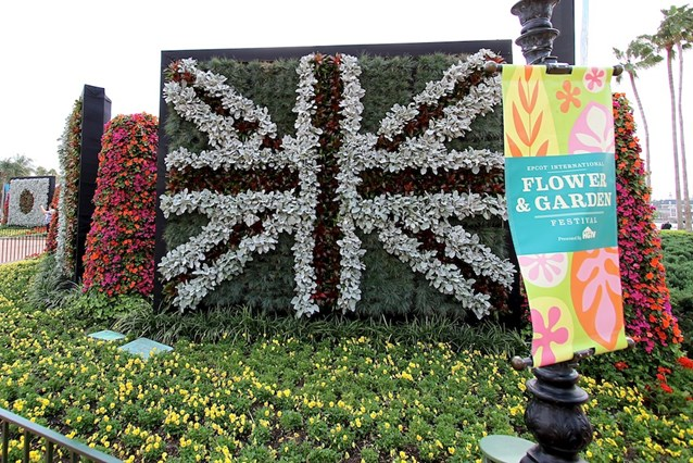 Epcot International Flower and Garden Festival - Flag walls of flowers decorate the entrance to World Showcase