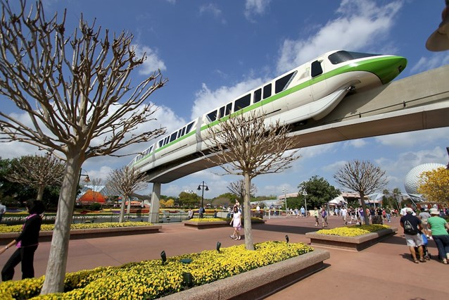 Epcot International Flower and Garden Festival - Monorail Green passes through Future World