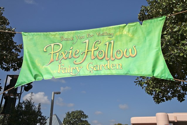 International Flower and Garden Festival - The Pixie Hollow Fairy Garden signage - home to fairy topiary, a playground, and meet and greets with the real fairies