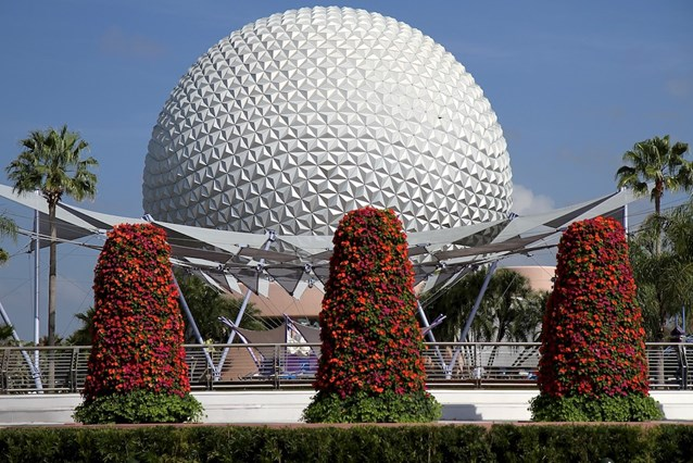 International Flower and Garden Festival - Spaceship Earth and the Flower Towers